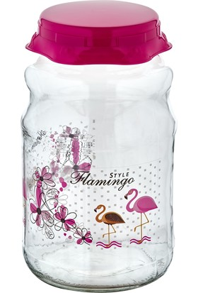 Eminem 2,65 L Plastik Kapaklı Pembe Flamingo Desenli Cam Kavanoz