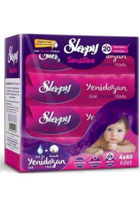 Sleepy Sensitive Yenidoğan Islak Pamuklu Mendil 4 Adet (4x40 Yaprak)
