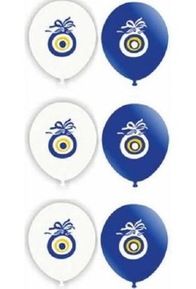 Balonpark 64 Adet Koyu Mavi Beyaz Nazar Boncuklu Balon Sünnet Helyumla Uçan