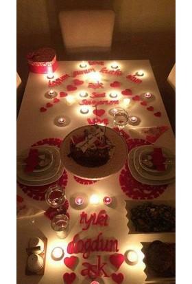 Balonpark 25 Parça Romantik Doğum Günü Masa Süslemesi Kırmızı Keçe Seti