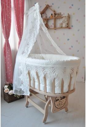 Bebek Konfor Osmanlı Güpürlü Doğal Ahşap Sepet Beşik