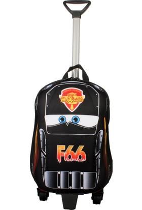 Ewason Küçük Boy Çekçekli Araba Desenli 2in1 Çocuk Sırt Çantası Valiz