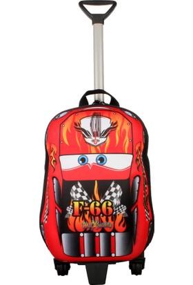 Ewason Küçük Boy Çekçekli Araba Desenli 2in1 Anaokulu Sırt Çantası Valiz