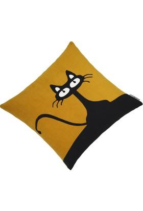 Yaratıcı Tasarım Yastık Kırlent Kılıfı Kedili Hardal Zemin