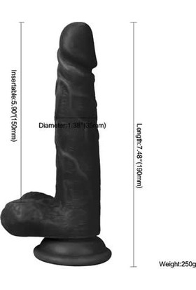 Xise 19 cm Vantuzlu Gerçekçi Realistik Zenci Penis Dildo