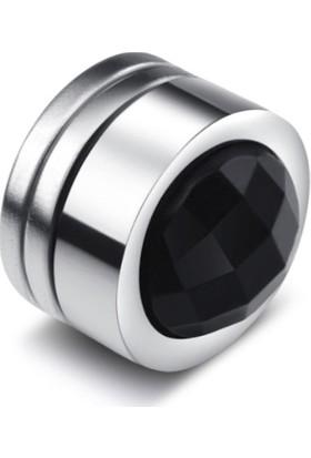 Chavin Unisex Mıknatıslı 8 Mm.Yuvarlak Taşlı Küpe Dt52Sy