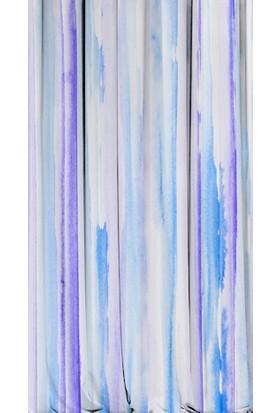 Kozzy Home RFE433 Saten Baskılı Tek Kanat Fon Perde -Mavi 135x 270 cm