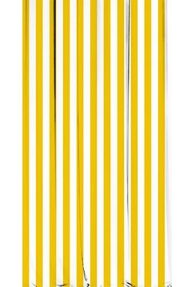 Kozzy Home RFE436 Saten Baskılı Tek Kanat Fon Perde - Sarı-Beyaz 135x 270 cm