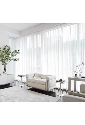 Aisha Home Kırık Beyaz Kullanıma Hazır Düz Tül Perde