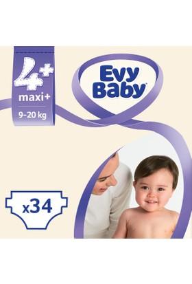 Evy Baby Bebek Bezi 4+ Beden Maxi Plus Jumbo Ekonomik Paket 34 Adet
