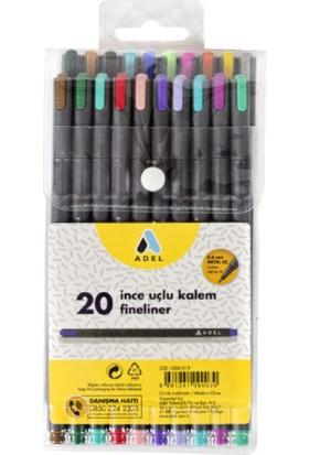 Adel Fineliner Karışık Renkler 20'Li İnce Uçlu Kalem