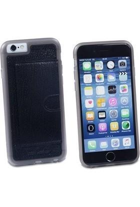 Pierre Cardin iPhone 6 Deri Arka Koruma Paneli Siyah PCL-P11