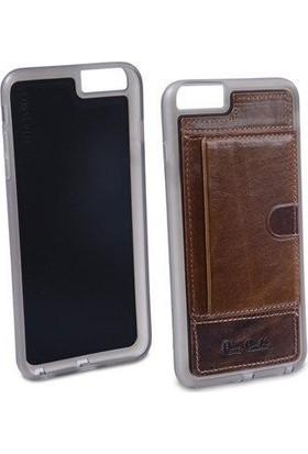 Pierre Cardin iPhone 6 Plus Deri Arka Koruma Paneli Kahverengi PCL-P11