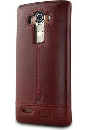Pierre Cardin LG G4 Deri Arka Koruma Paneli Bordo PCL-P03