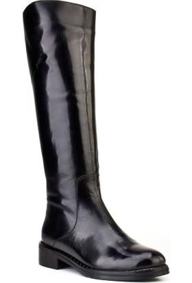 Cabani Fermuarlı Günlük Kadın Çizme Siyah Buffalo Deri