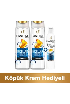 Pantene Fırsat Paketi Micellar 2 x 500 ml Şampuan + 180 ml Köpük Saç Bakım Kremi + Çanta