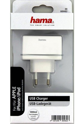 Hama Apple Şarj Cihazı USB 1000 mAh Beyaz HM.89482