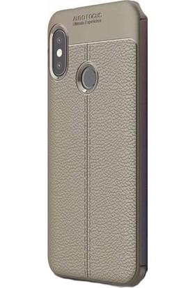 KNY Xiaomi Mi A2 Lite Kılıf Deri Desenli Lux Niss Silikon + Cam Ekran Koruyucu