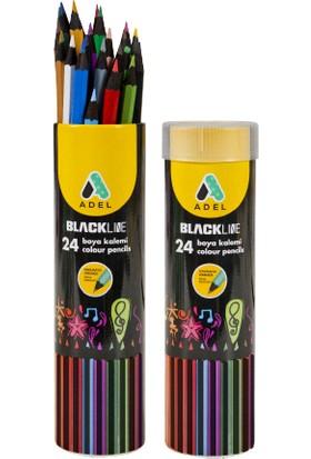 Adel Blackline Metal Tüp Boya Kalemi 24 Renk Tam Boy