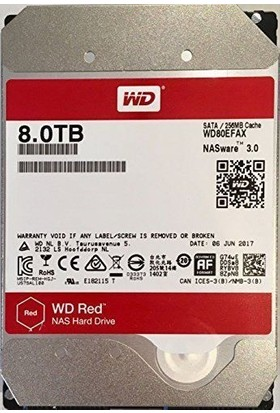 """WD Red 8TB 5400 RPM 256MB Cache Sata III 3,5"""" Sabit Disk WD80EFAX"""