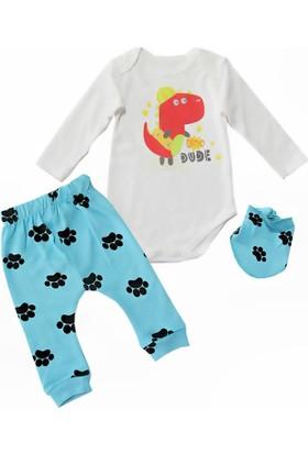 Kidsmadamiko 4789 Baskılı 3'lü Bebek Body Mavi