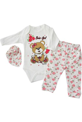 Kidsmadamiko 865 Kız Bebek Fularlı 3'lü Body Pembe