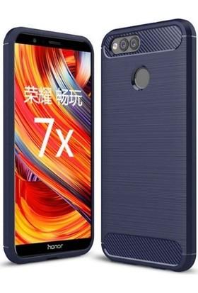 Teleplus Honor 7X Özel Karbon ve Silikonlu Kılıf Lacivert