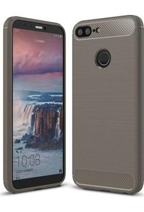 Teleplus Honor 9 Lite Özel Karbon ve Silikonlu Kılıf Gri