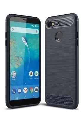 Teleplus General Mobile GM 8 Go Özel Karbon ve Silikonlu Kılıf Lacivert + Nano Ekran Koruyucu