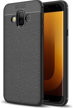 Teleplus Samsung Galaxy J7 Duo Deri Dokulu Silikon Kılıf Siyah + Nano Ekran Koruyucu