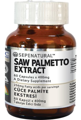 Sepe Natural Saw Palmetto Extract 60 Kapsül x 400 mg Cüce Palmiye Ekstrakt