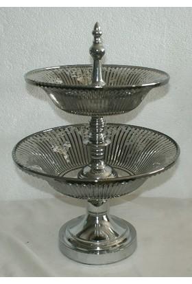 Hiper Gümüş Dekoratif İki Katlı Seramik