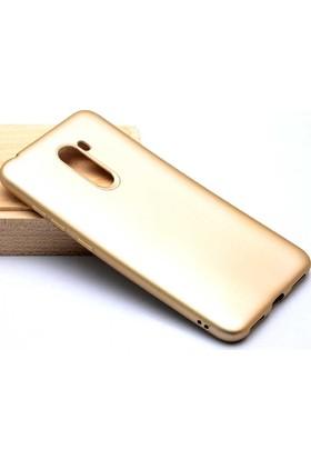 Case 4U Xiaomi Pocophone F1 Kılıf Mat Silikon Arka Kapak - Premier - Altın