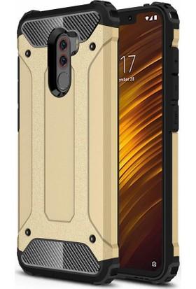 Case 4U Xiaomi Pocophone F1 Kılıf Çift Katman Zırh Koruma Tank Arka Kapak - Altın
