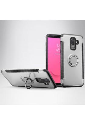 Case 4U Samsung Galaxy J8 Kılıf Yüzüklü Darbeye Dayanıklı Arka Kapak - Verus - Gümüş
