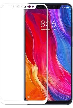 Case 4U Xiaomi Mi 8 3D Kavisli Temperli Cam Ekran Koruyucu Film Beyaz