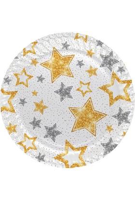 Parti Bulutu Partibulutu Yıldızlar Karton Tabak Beyaz 23 Cm 8'Li