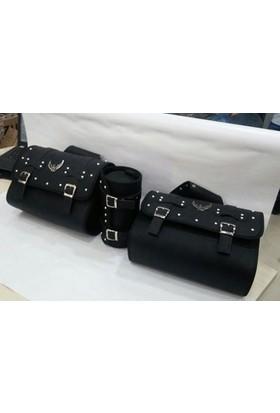 fdce9785e2bef Motospartan Üçlü Suni Deri Çanta Seti 2 X Yan Çanta + 1 Sosis Çanta Biyeli  Siyah