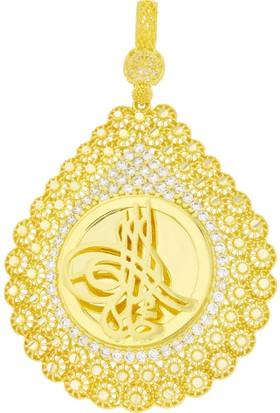 Tuğrul Kuyumculuk 14 Ayar Altın Çerçeveli Osmanlı Tuğralı Kolye Ucu