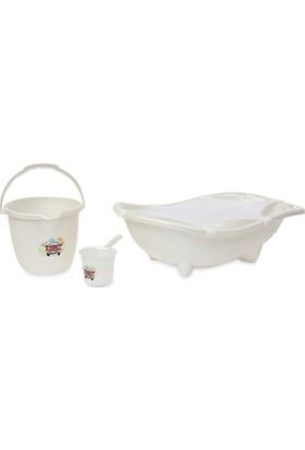 Babybee Banyo Küvet Seti 3 Parça Beyaz (File Hediyeli)