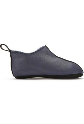 Pegia Hakiki Kürklü Çocuk Ev Ayakkabısı 121097 Lacivert