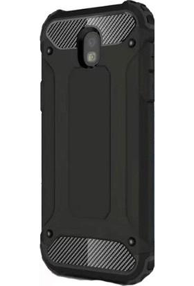 TeknoArea Samsung Galaxy J7 Pro 2017 Kılıf Çift Katmanlı Armour Case + Cam Ekran Koruyucu