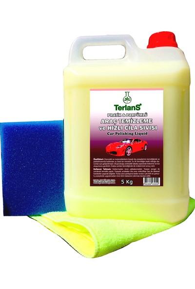 Terlans Hızlı Cila Temizlik ve Boya Koruma Parfümlü 5 Kg + Mikrofiber Bez
