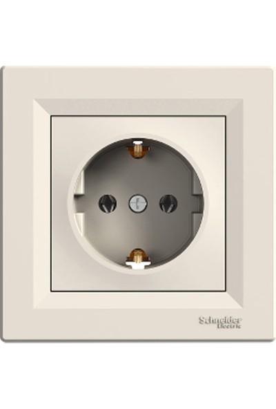 Schneider Electric Asfora Topraklı Priz Krem Çerçeveli