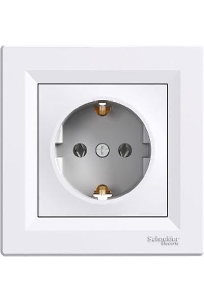 Schneider Electric Asfora Topraklı Priz Beyaz Çerçeveli