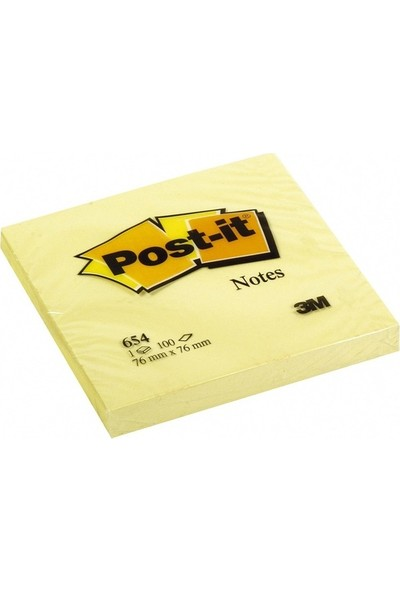 Post-It Yapışkanlı Not K. Sarı 76X76Mm 654