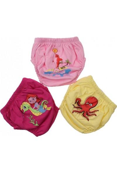 Story Baby Kız Bebek Sevimli 3'Lü Alıştırma Külodu (Pembe) Kırmızı Yunuslu