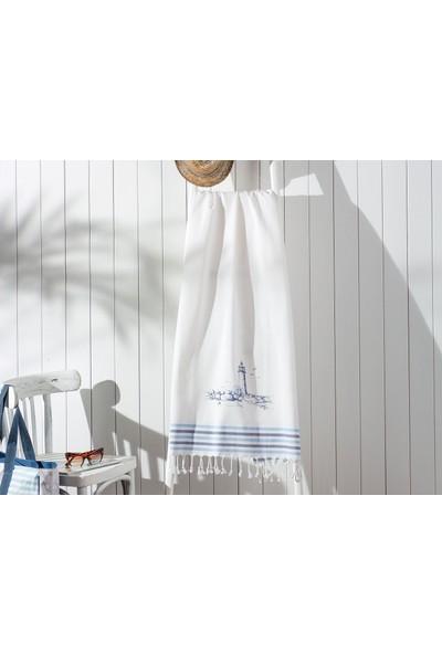 Madame Coco Meganne Baskılı Saçaklı Plaj Havlusu - Mavi / Lacivert 80x150 cm