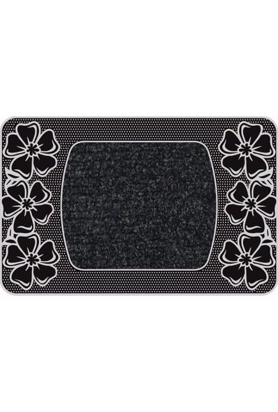 B'Home B'Home Flower Kapı Önü Paspas Halılı 45x70 cm Gümüş
