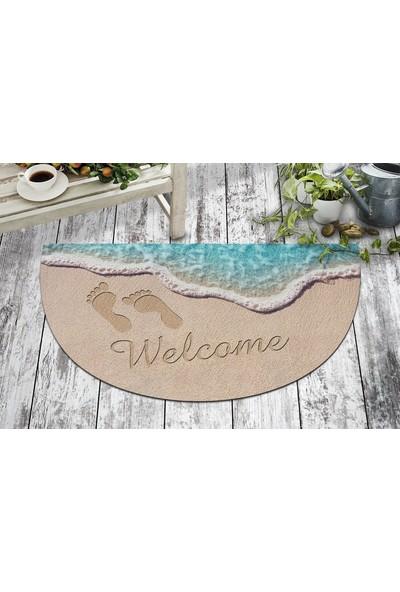 B'Home B'Home Welcome Ayak İzi Tasarım Kapı Önü ve Ev İçi Paspas 40x70 cm Yarım Ay